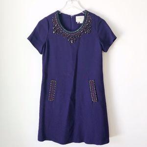 Kate Spade Purple Gail Shift Beaded Dress